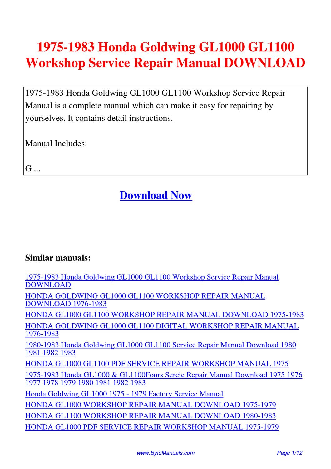 honda goldwing gl1100 service manual pdf