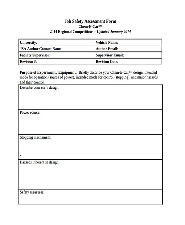 Assessment of need application form