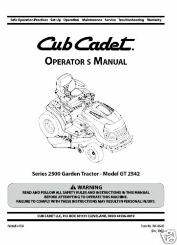 Free manuals for cub cadet gt3204 tractor